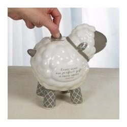 Baby Lamb Bank-White/Gray