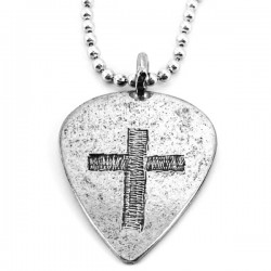 Necklace-Pewter Guitar Pick...