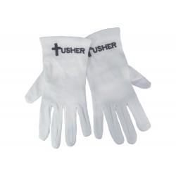 Gloves-Usher w/Cross White...