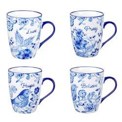 Mug Set-Blue Floral (Set Of 4)