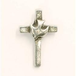 Lapel Pin-Cross w/Dove-Pewter