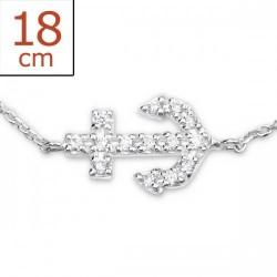 Bracelet-Chain Anchor w/CZ...