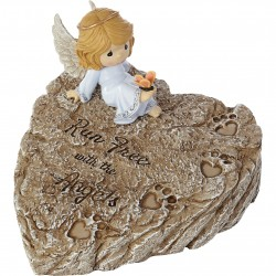Garden Stone-Angel On Heart...