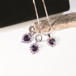 Necklace/Earring Set-Purple...