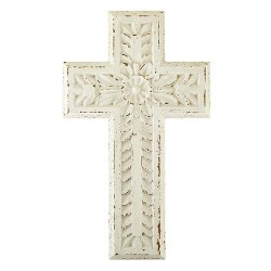 Wall Cross-Carved-White...