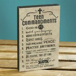Plaque-Teen Commandments