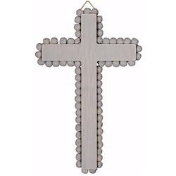 """Wall Cross-Gray Beaded (8"""")"""